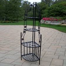shop oakland living 60 25 in black corner wrought iron plant stand