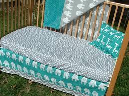 Teal Crib Bedding Sets Turquoise And Gray Elephants Chevron Custom Crib Bedding Set