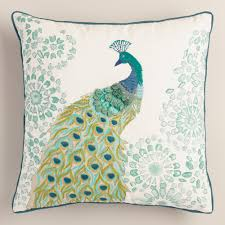 peacock turquoise peacock embroidered throw pillow everything turquoise