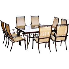 monaco 9 piece dining set with 60 in square glass top table and