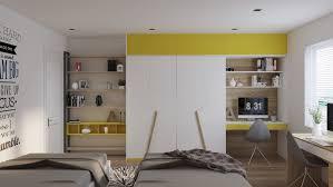 bureau chambre enfant design interieur chambre grise armoire blanc jaune coin bureau