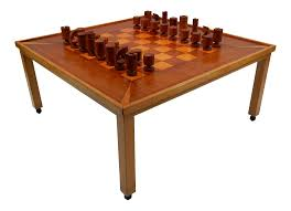 modern chess table 1970s polished aluminum and brass chess table