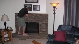 amazing grays faux stone fireplace pine lodge full headboard