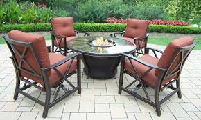 Patio Furniture With Fire Pit Set - oakland living moonlight patio deep seating 5pc fire set w