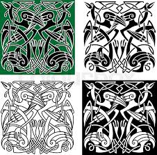 ancient celtic birds symbols with tribal stylized herons or storks