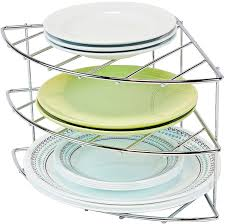 Plate Rack Kitchen Cabinet Amazon Com Decobros 3 Tier Corner Shelf Organizer Chrome