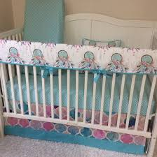 Boho Crib Bedding by Bumperless Baby Crib Bedding Aqua Pink Teal Feathers Watercolor