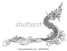 hand drawn thai dragon on water stock vector 628227923 shutterstock