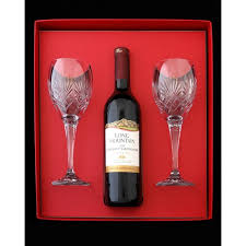 wine glass gift set 2 wine glasses and bottle of wine in gift