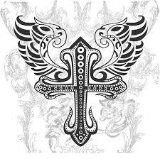 tribal cross with wing illustration pe polynesian tattoos
