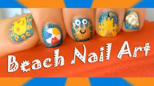 spring and summer beach nail art designs cute sun beach ball