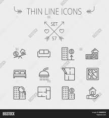 estate thin line icon set for web and mobile set includes sofa
