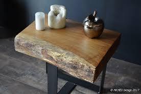 bout de canapé bois bout de canapé style vintage bois massif pied acier brut micheli