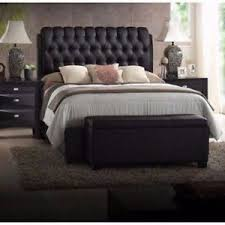 Black Tufted Bed Frame King Size Platform Beds Upholstered Leather Black Headboard Button