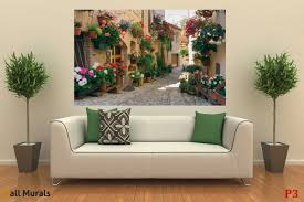 mural retro street with beautiful flowers wallpapers mural retro street with beautiful flowers