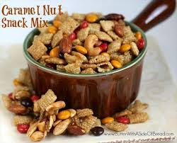 caramel nut snack mix butter with a side of bread