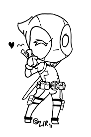 cartoon printable chibi deadpool coloring pages coloring tone