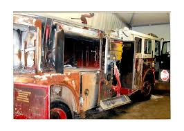 damaged fire engine in memory of the 343 fdny firefighters lost 9