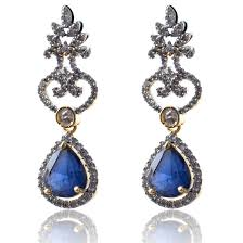 dimond drop american diamond drop ended kalash shaped earrings fascraft