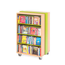 Green Bookcase Mobile Curved Bookcase