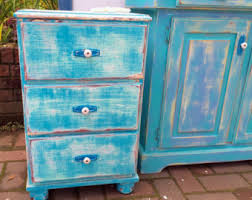 Turquoise Side Table Turquoise Nightstand Etsy