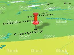 Calgary Canada Map by Pushpin On Calgary Map Stock Vector Art 686312414 Istock