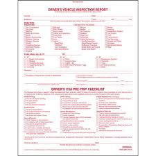 vehicle inspection report template detailed driver s vehicle inspection report w csa checklist book