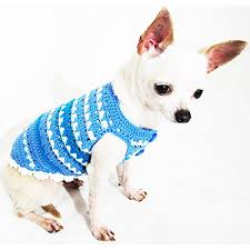 blue clothes handmade crochet unique pet clothing chihuahua