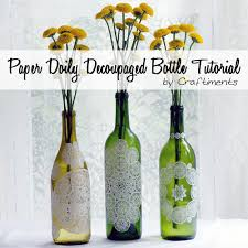 paper doily decoupaged bottle save those wine bottles and use