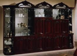 Wall Units by Fiorello Wall Unit Mahogany Glass Shelves Glass Doors And