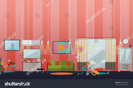 vector illustration home people putting dressing stock vector