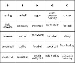 team sports bingo by bingo card template