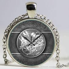art glass necklace pendant images Wholesale steampunk clock art picture pendant necklace new glass jpg