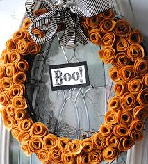 halloween wreath felt flower halloween wreath