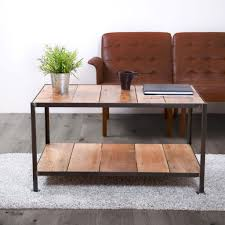 reclaimed wooden coffee table industrial style