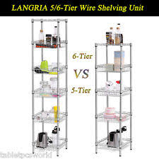 5 Tier Wire Shelving by Langria 5 Tier Xl Garage Kitchen Wire Shelving Unit Storage