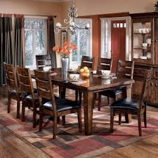 mid 20th century oak dining room table with eight leather 9 pc