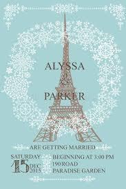 eiffel tower wedding invitations wedding invitation eiffel tower snowflakes wreath stock photo
