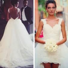 high low wedding dress with sleeves aliexpress buy detachable skirt high low wedding dresses cap