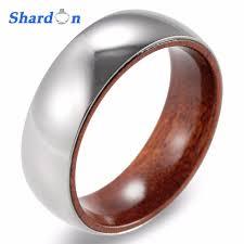 domed ring shardon 8mm titanium sandal wood inner band domed ring men s