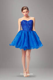 stylish royal blue beaded boning tulle short prom dress