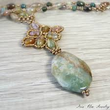 pendant necklace bead images Beaded fancy jasper pendant necklace iris elm jewelry unique jpg