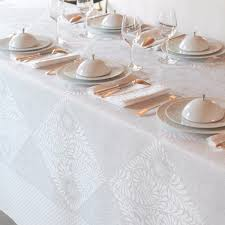 nappe en coton enduit nappe bosphore blanc 50 coton 50 lin nappes la table le