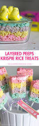 layered peeps crispy treats rice krispie treats with an easter twist