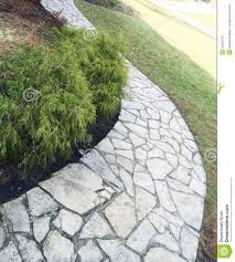 flagstone walkway with landscaping stock photo image 50569179