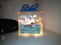 glass block painted lights