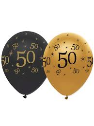 50th birthday balloons 6 black and gold 50th birthday balloons decorations and