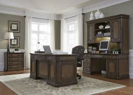 Landon Desk With Hutch Oak by Amelia Antique Toffee Jr Executive Home Office Set From Liberty