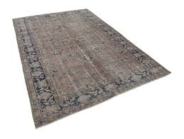 7 x 10 brown dark blue vintage area rug u2013 village uncommon