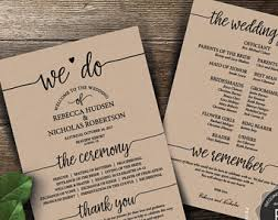 vista print wedding programs wedding programs etsy
